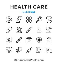 Health care line icons set. Modern outline elements, graphic design concepts, simple symbols collection. Vector line icons