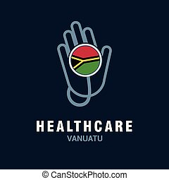 Health care logo with country flag design vector