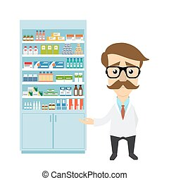 Health care. Male pharmacist in pharmacy opposite shelves with medicines