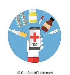 Health Care Modern Flat Concept Background Vector Illustration
