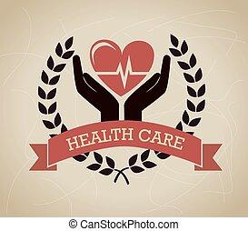 health care over beige background vector illustration