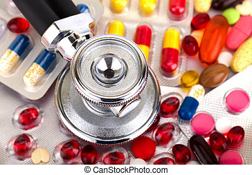 Health care - Picture of a colourful pills capsules and ...