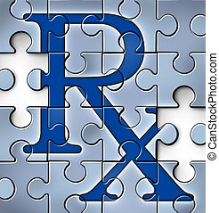 Health care reform concept with a RX pharmacy medical symbol in a puzzle jigsaw texture with peices missing as change to the status quo of the broken hospital care insurance and healthcare system that needs to be fixed.