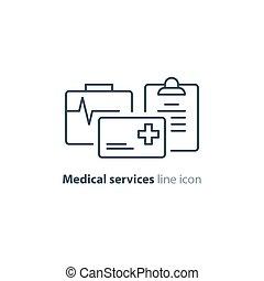 Health care services thin line icon, insurance card logo -...