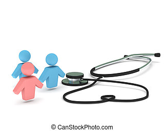 Health care. Stethoscope and human figures isolated on white...