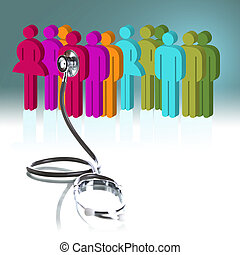 Health care - Stethoscope and person concept of health care