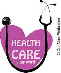 Health Care symbol  heart and stethoscope
