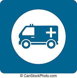 blue medicine ambulance icon