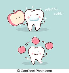 Health cartoon tooth with apple