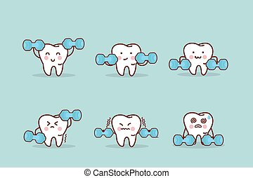 health cartoon tooth with dumbbell