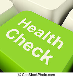 Health Check Computer Key In Green Showing Medical ...