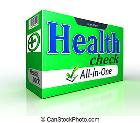 Health check green pack concept on white background