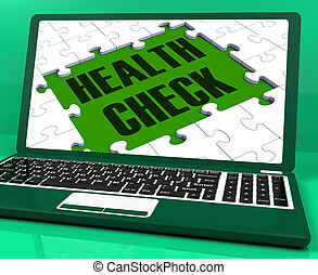 Health Check On Laptop Showing Medical Exams