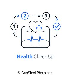 Health check up, heart system exam, hypertension symptoms, cardiovascular disease test