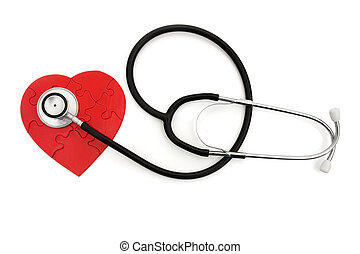 A black and silver stethoscope with a heart shaped puzzle isolated on white, healthcare