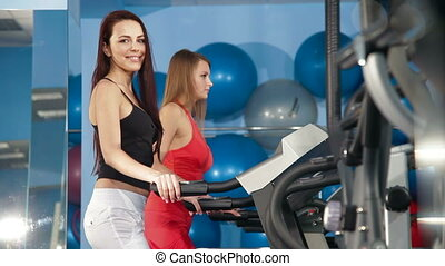 Health Club - Two Young Women Practicing In The Gym On...