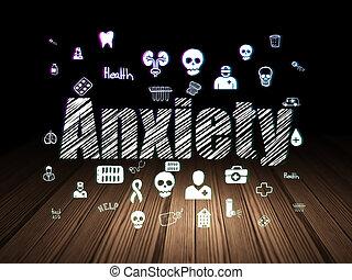 Health concept: Anxiety in grunge dark room