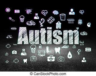 Health concept: Autism in grunge dark room