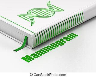 Health concept: book DNA, Mammogram on white background -...