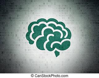 Health concept: Brain on Digital Data Paper background