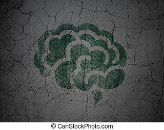 Health concept: Brain on grunge wall background