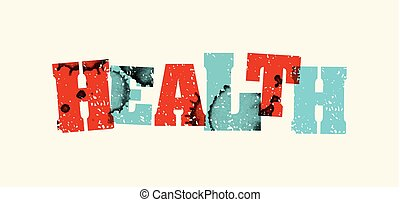 Health Concept Colorful Stamped Word Illustration