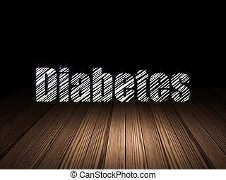 Health concept: Diabetes in grunge dark room