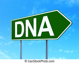 Health concept: DNA on road sign background
