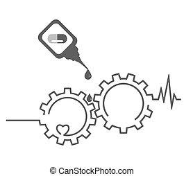 Health concept. Heart, medicament, cardiogram, gear