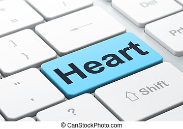 Health concept: Heart on computer keyboard background
