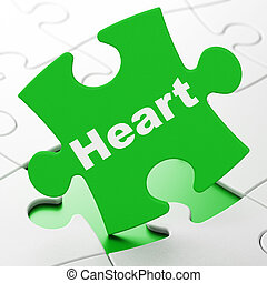 Health concept: Heart on puzzle background