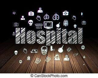 Health concept: Hospital in grunge dark room