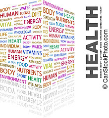 HEALTH. Concept illustration. Graphic tag collection. ...