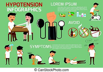 Health concept infographics of hypotension & hypertension...