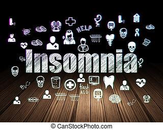 Health concept: Insomnia in grunge dark room
