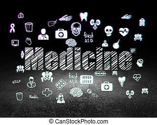Health concept: Medicine in grunge dark room