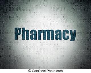 Health concept: Pharmacy on Digital Data Paper background