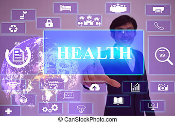 HEALTH  concept  presented by  businessman touching on  virtual  screen ,image element furnished by NASA