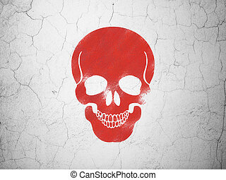 Health concept: Scull on wall background