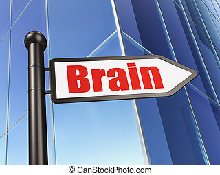 Health concept: sign Brain on Building background