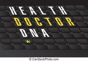health concept sign on airport board background