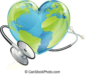 Heatlth concept illustration of a heart earth world globe with a stethoscope wrapped around it.