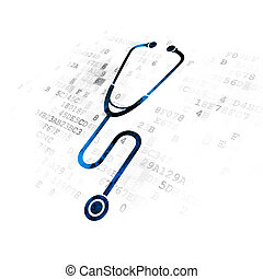 Health concept: Stethoscope on Digital background