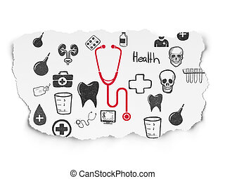 Health concept: Stethoscope on Torn Paper background