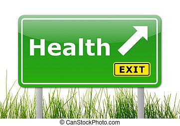 health concept with road sign showing healthy lifestyle