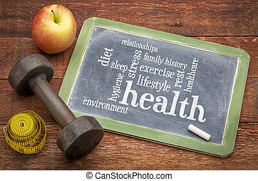 health concept - word cloud of contributing factors