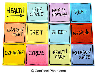 health concept - word cloud on sticky notes