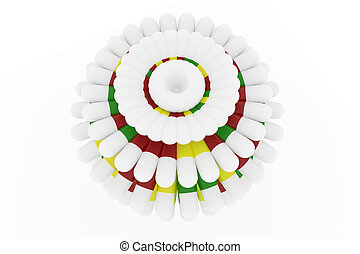 Health conceptual bunch of capsules or medical pills with white background.