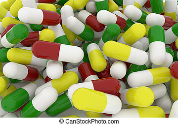 Health conceptual with bunch of close up capsules, medicine or pills, 3D rendering image