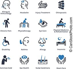 This set contains health conditions & diseases icons that can be used for designing and developing websites, as well as printed materials and presentations.